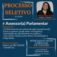 Oportunidade:  gabinete da vereadora Carol Coelho ( PATRIOTA) seleciona candidatos
